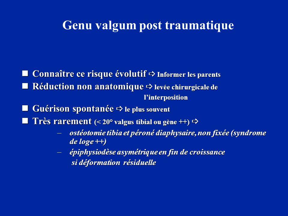 Genu valgum post traumatique  Connaître ce risque évolutif  Informer les parents  Réduction non anatomique  levée chirurgicale de l'interposition