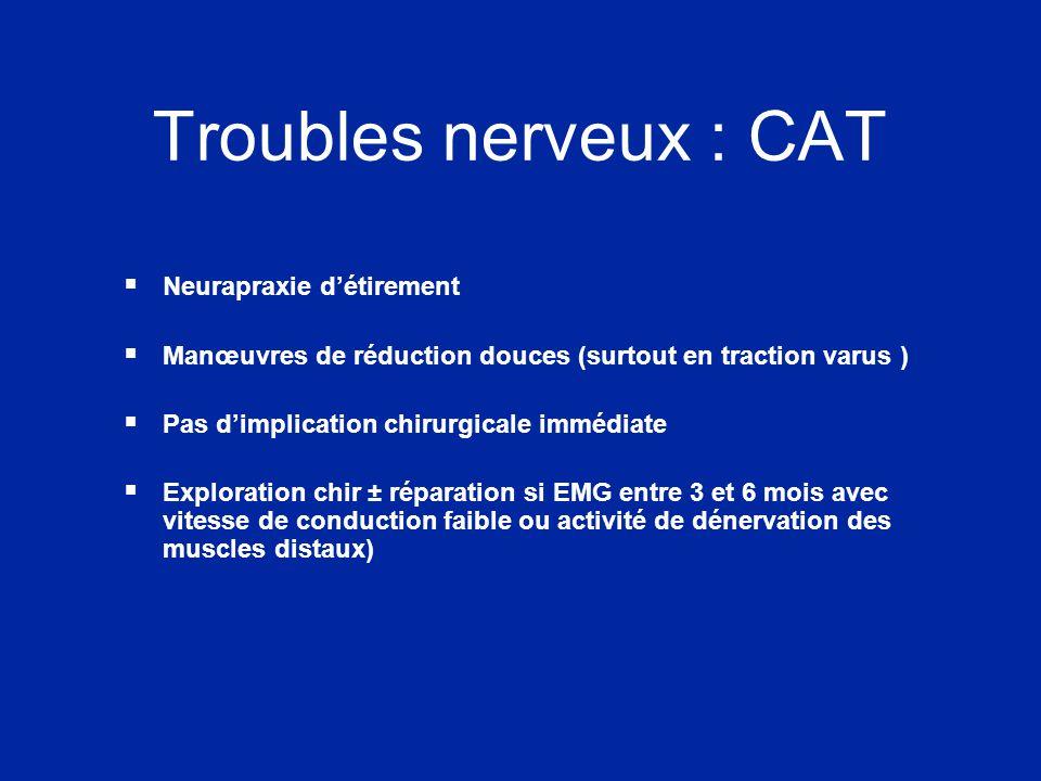 Troubles nerveux : CAT  Neurapraxie d'étirement  Manœuvres de réduction douces (surtout en traction varus )  Pas d'implication chirurgicale immédia