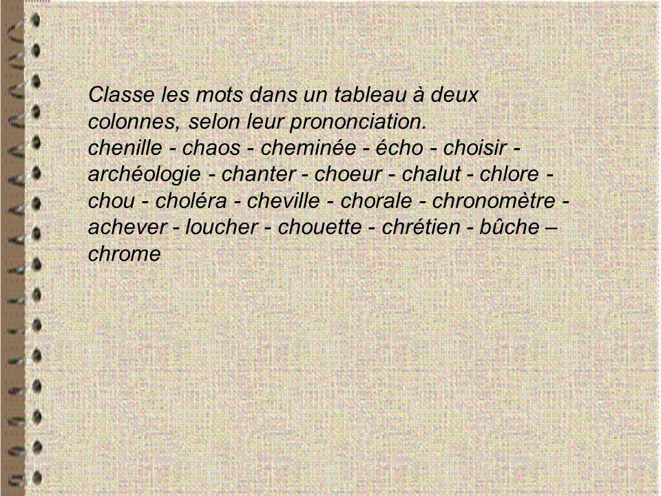 Classe les mots dans un tableau à deux colonnes, selon leur prononciation. chenille - chaos - cheminée - écho - choisir - archéologie - chanter - choe