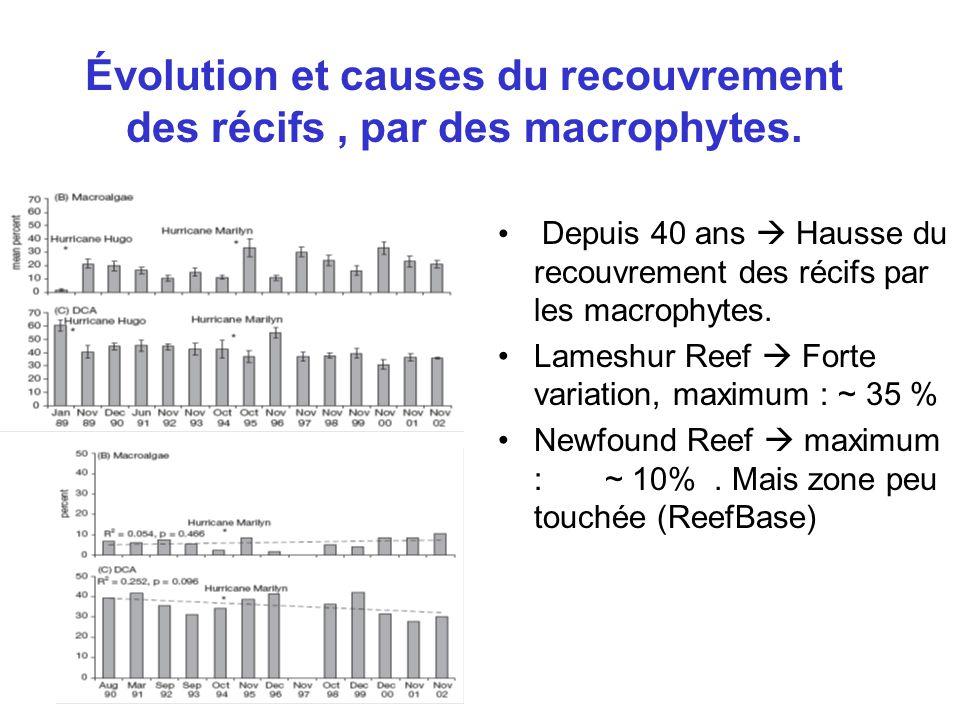 Évolution et causes du recouvrement des récifs, par des macrophytes.