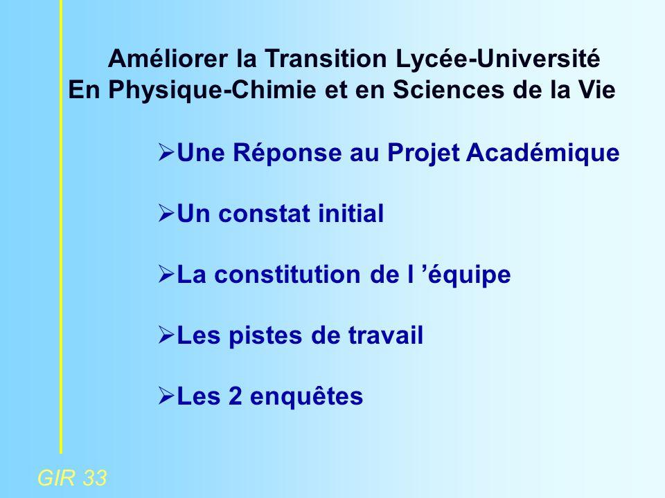 GIR 33 Améliorer la Transition Lycée-Université En Physique-Chimie et en Sciences de la Vie  Une Réponse au Projet Académique  Un constat initial 