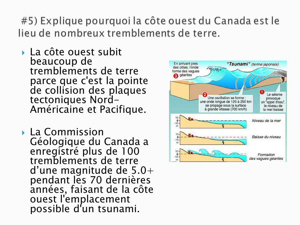  La côte ouest subit beaucoup de tremblements de terre parce que c'est la pointe de collision des plaques tectoniques Nord- Américaine et Pacifique.