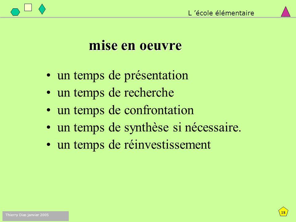 17 Thierry Dias janvier 2005 démarche •La résolution de problème, •Dans des situations finalisées : •Situations de référence complétées par des situat