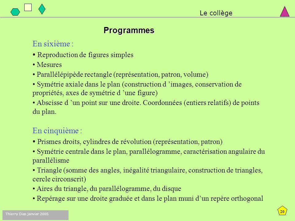 19 Thierry Dias janvier 2005 Quelques axes du programme en cycle 3… Géométrie dynamique  Géométrie expérimentale et place des logiciels de géométrie