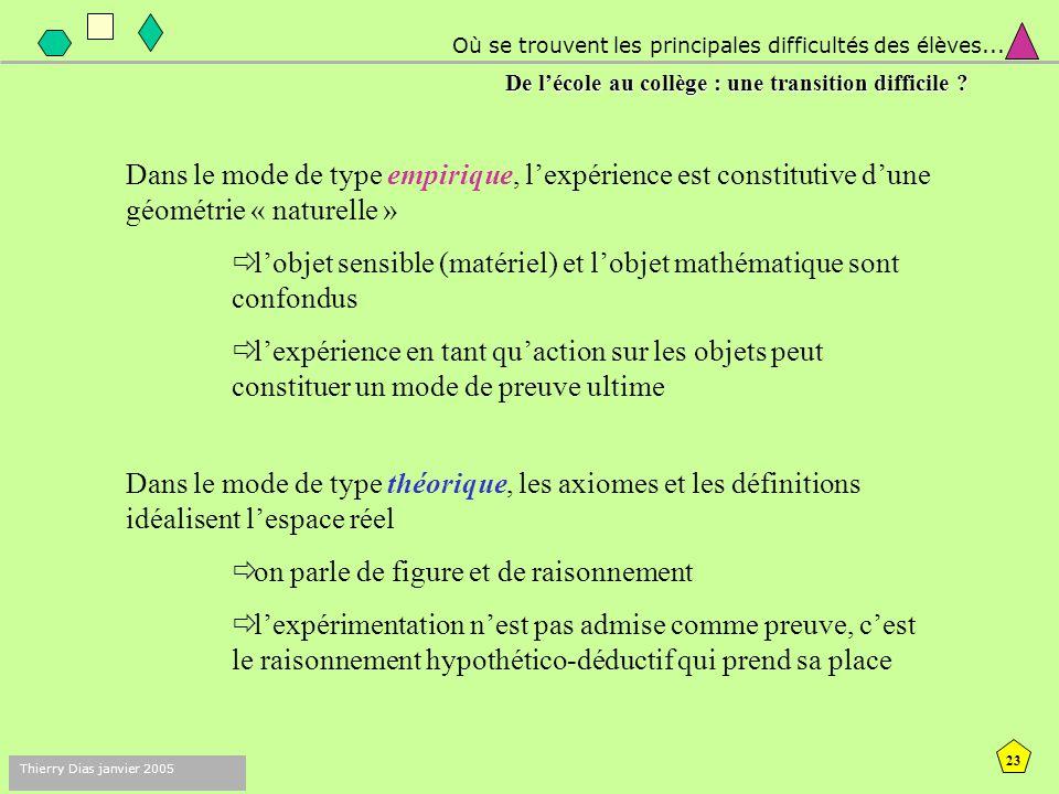 22 Thierry Dias janvier 2005 de l'école au collège : une transition difficile ? Deux modes de construction des connaissances qui peuvent s'opposer : O