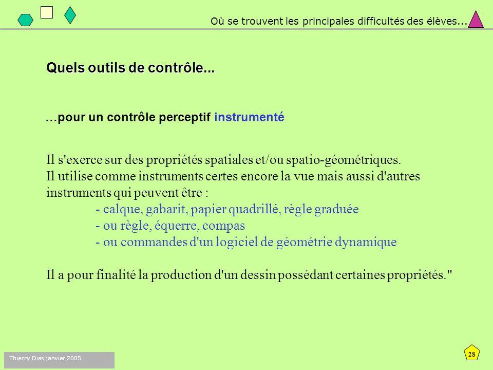 27 Thierry Dias janvier 2005 Où se trouvent les principales difficultés des élèves...