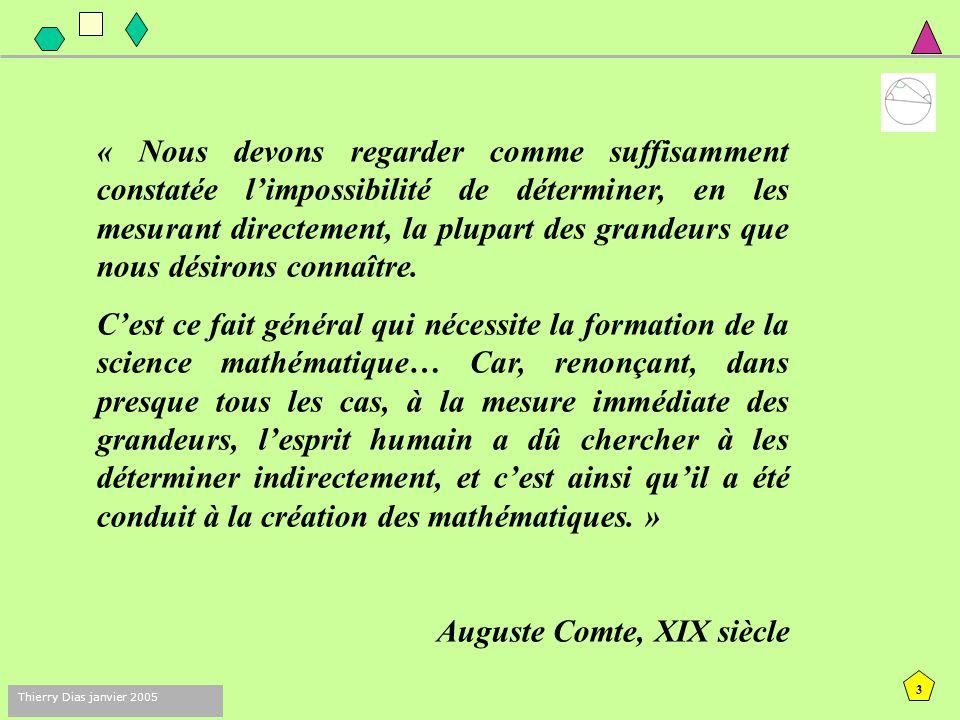 2 Thierry Dias janvier 2005 Thalès - 625 Pythagore - 500 Platon - 427 Euclide - 300 Archimède - 287 XVIII siècle Si on représente par un segment de 20