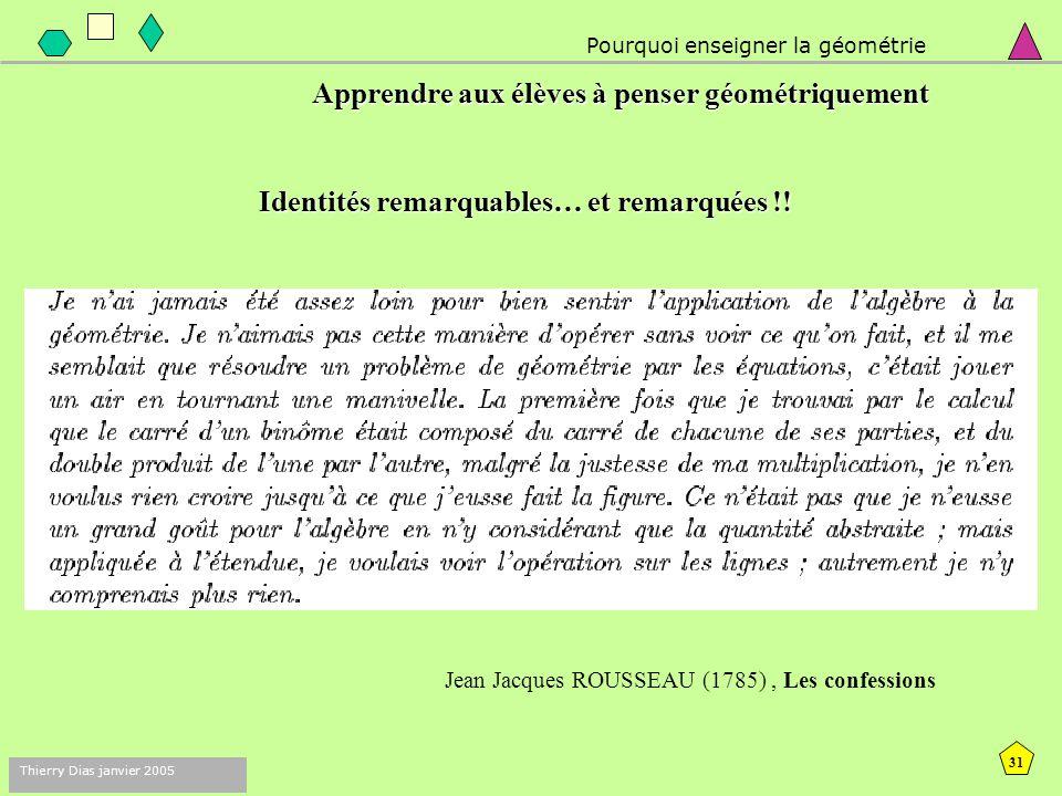 30 Thierry Dias janvier 2005 Pour quoi enseigner la géométrie 1. Apprendre aux élèves à penser géométriquement :  varier les registres de représentat