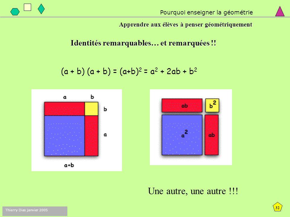31 Thierry Dias janvier 2005 Pourquoi enseigner la géométrie Apprendre aux élèves à penser géométriquement Identités remarquables… et remarquées !! Je