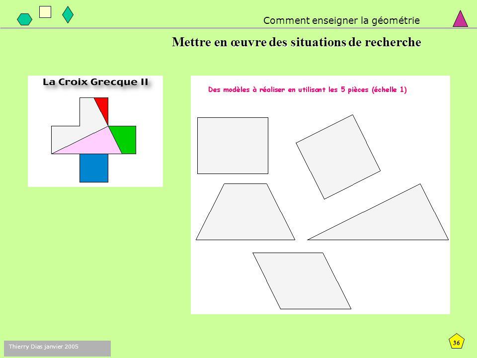 35 Thierry Dias janvier 2005 Comment enseigner la géométrie 1. Mettre en œuvre des situations de recherche :  pour faire vivre de vraies situations d