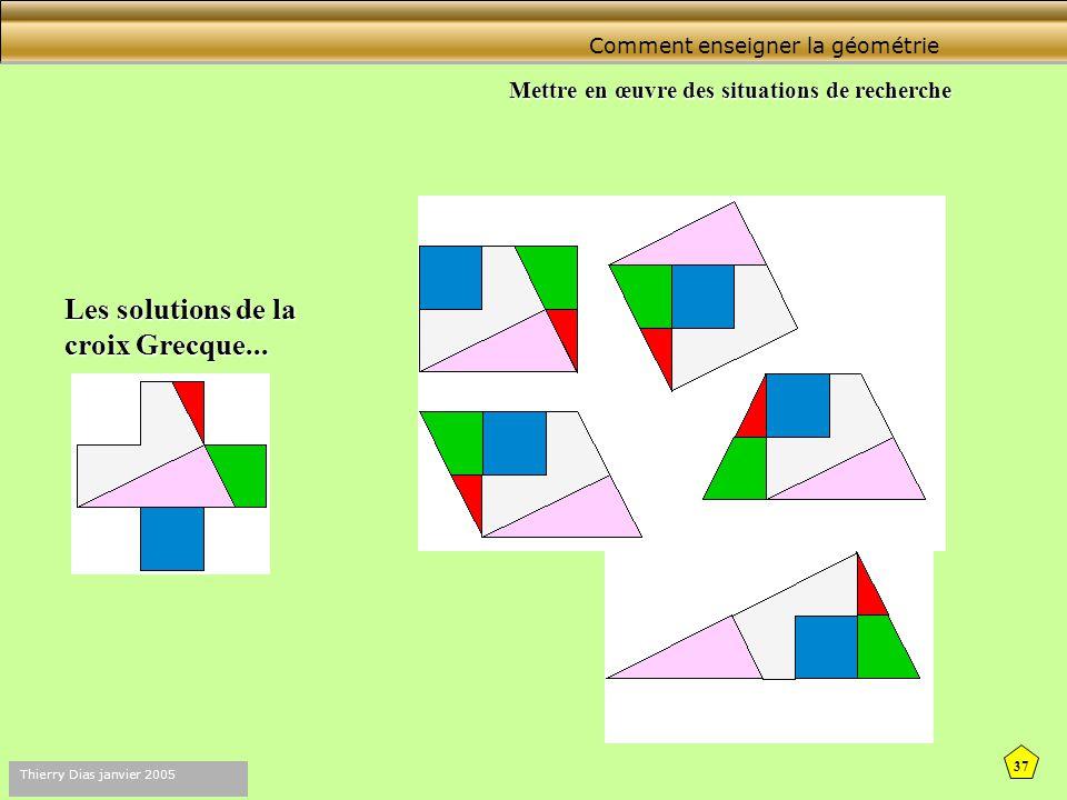 36 Thierry Dias janvier 2005 Comment enseigner la géométrie Mettre en œuvre des situations de recherche