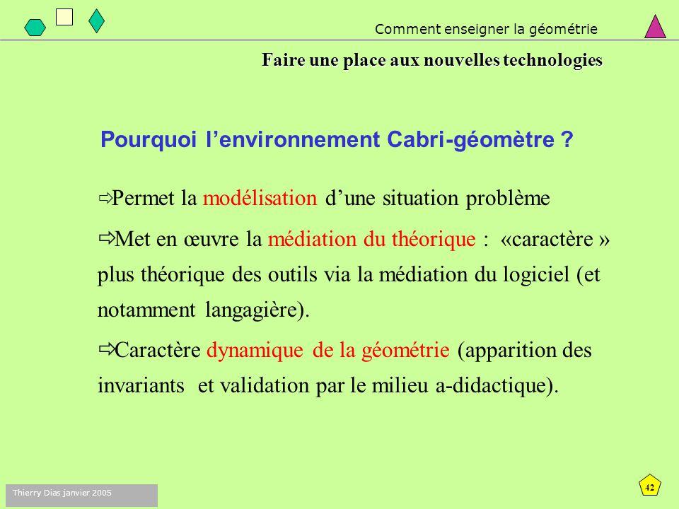 41 Thierry Dias janvier 2005 Comment enseigner la géométrie Faire une place aux nouvelles technologies Le logiciel Cabri-géomètre Cabri II