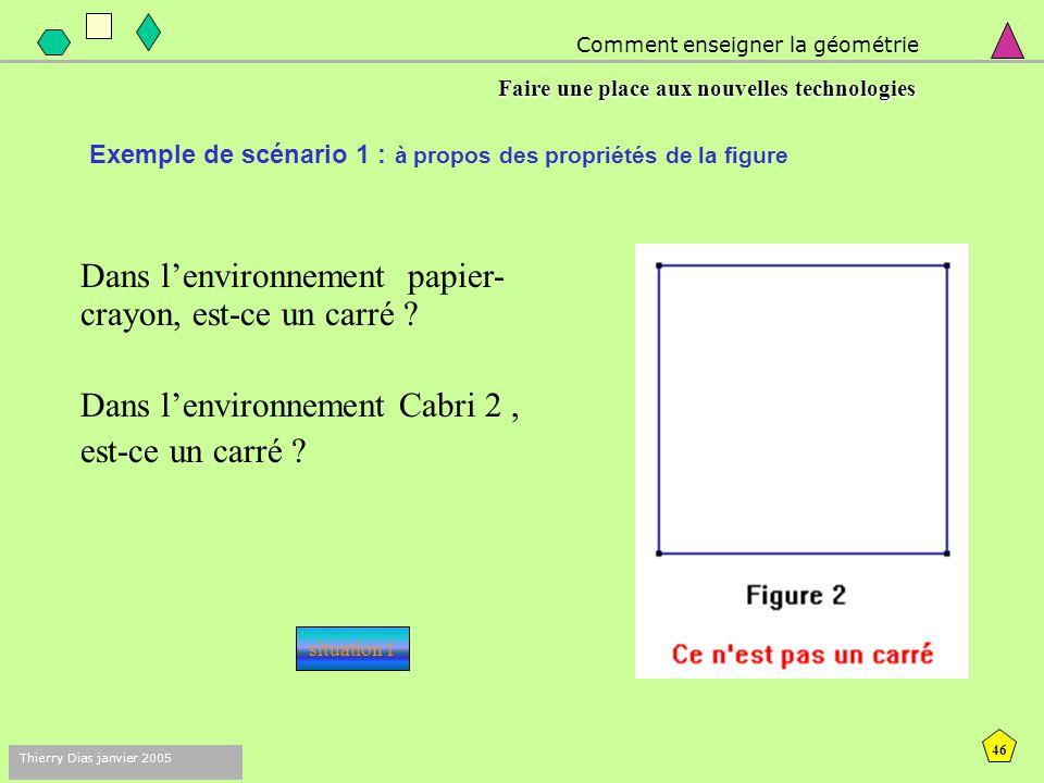 45 Thierry Dias janvier 2005 - Les élèves disposent de trois figures ressemblant à des carrés, d'abord sous forme papier, puis sous forme de fichier Cabri.