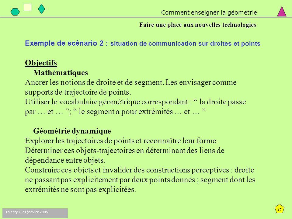 46 Thierry Dias janvier 2005 Exemple de scénario 1 : à propos des propriétés de la figure Dans l'environnement papier- crayon, est-ce un carré ? Dans