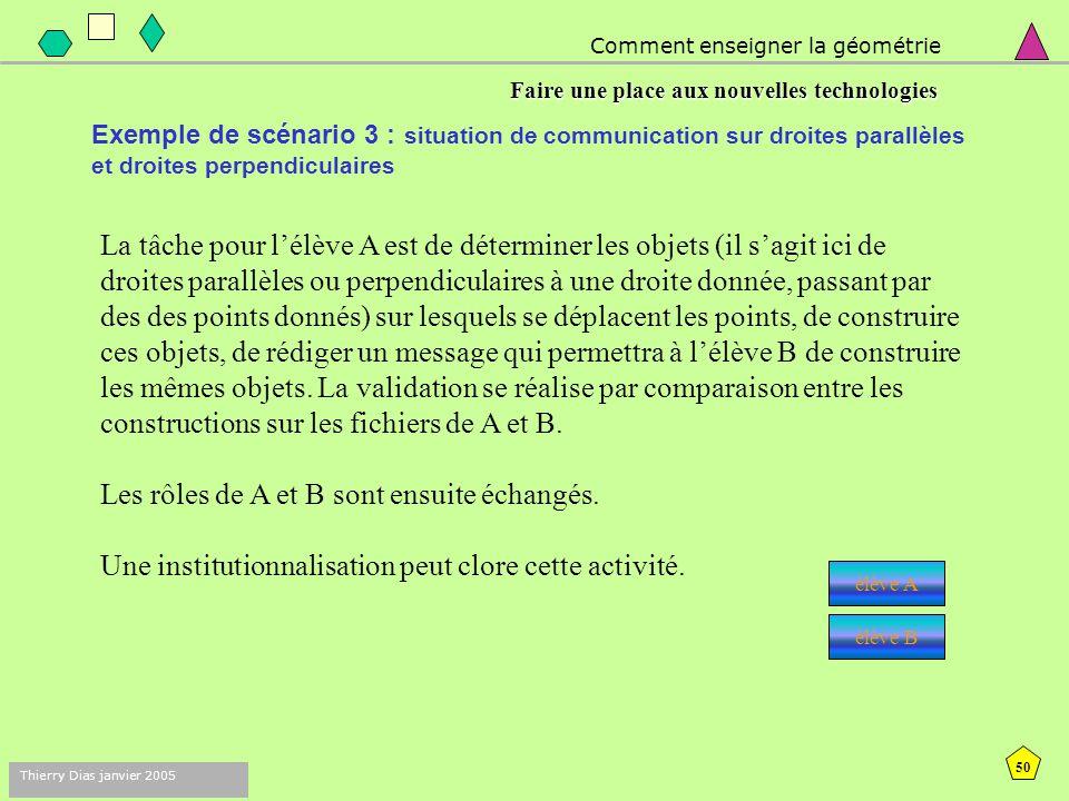 49 Thierry Dias janvier 2005 Comment enseigner la géométrie Faire une place aux nouvelles technologies Exemple de scénario 3 : situation de communication sur droites parallèles et droites perpendiculaires Objectifs Mathématiques Ancrer les notions de droites parallèles ou perpendiculaires.