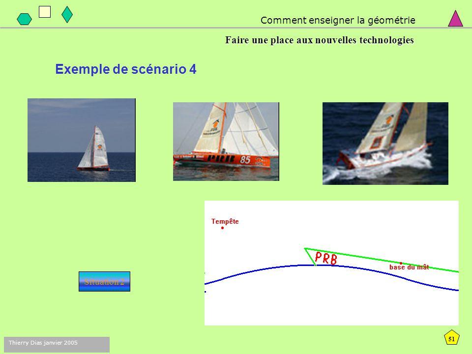50 Thierry Dias janvier 2005 Comment enseigner la géométrie Faire une place aux nouvelles technologies Exemple de scénario 3 : situation de communicat