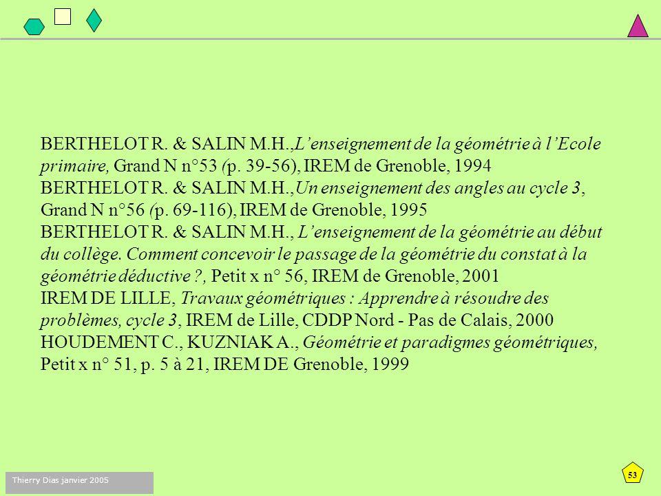 52 Thierry Dias janvier 2005 Concepts VERGNAUD G. (1990) La théorie des champs conceptuels. Recherches en Didactique des Mathématiques vol 10 2/3 pp.