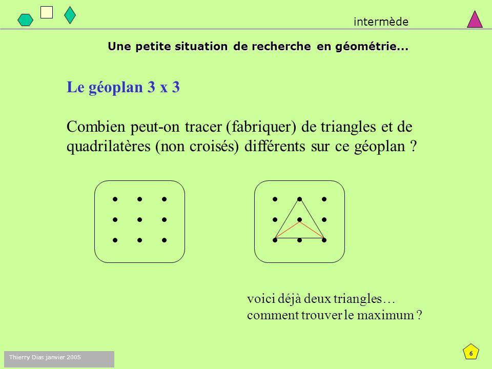 5 Thierry Dias janvier 2005 Ma devise habituelle : Avant de faire faire des mathématiques, commençons par faire des mathématiques ! intermède