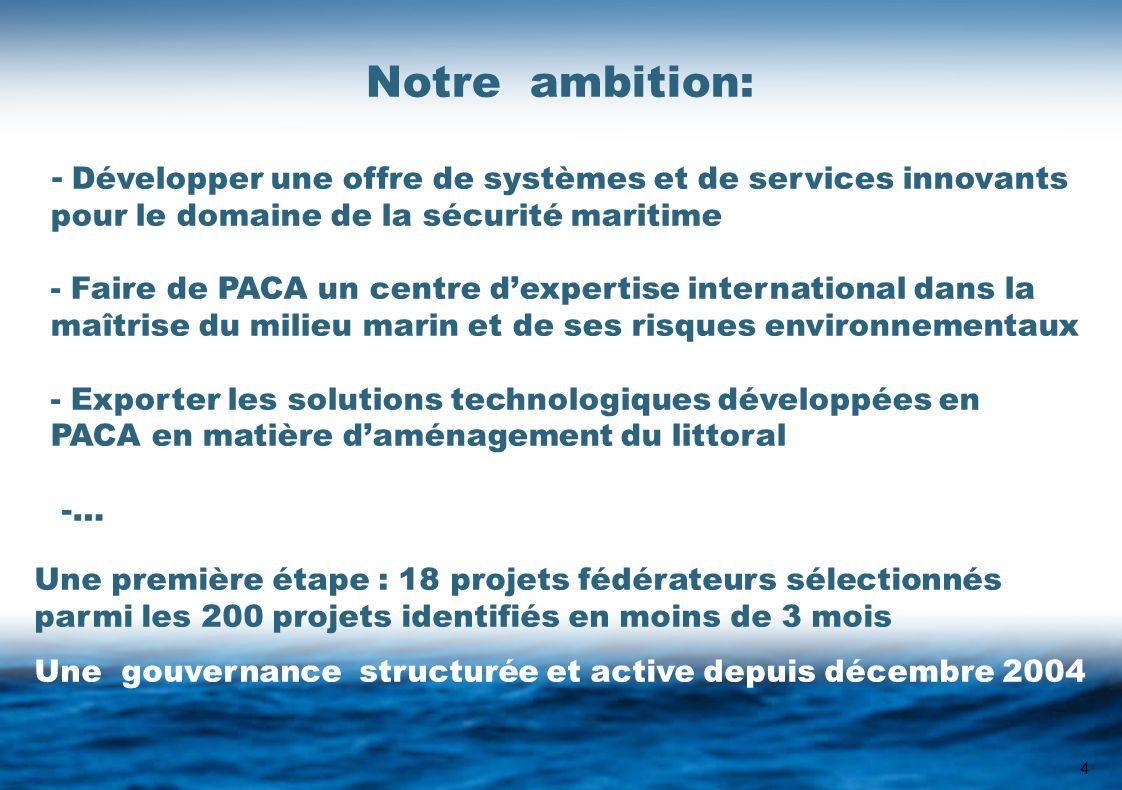 4 Notre ambition: - Développer une offre de systèmes et de services innovants pour le domaine de la sécurité maritime - Faire de PACA un centre d'expertise international dans la maîtrise du milieu marin et de ses risques environnementaux - Exporter les solutions technologiques développées en PACA en matière d'aménagement du littoral -… Une première étape : 18 projets fédérateurs sélectionnés parmi les 200 projets identifiés en moins de 3 mois Une gouvernance structurée et active depuis décembre 2004