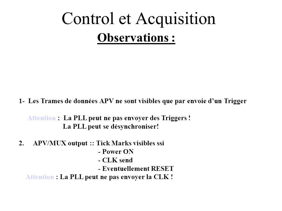 Control et Acquisition Observations : 1- Les Trames de données APV ne sont visibles que par envoie d'un Trigger Attention : La PLL peut ne pas envoyer des Triggers .