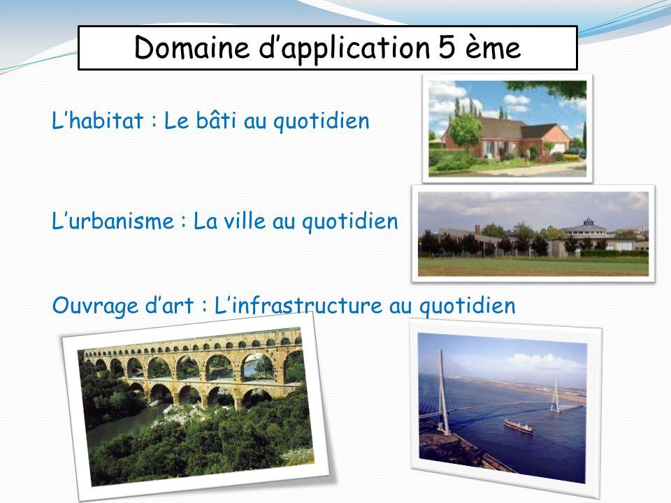 Domaine d'application 5 ème L'habitat : Le bâti au quotidien L'urbanisme : La ville au quotidien Ouvrage d'art : L'infrastructure au quotidien