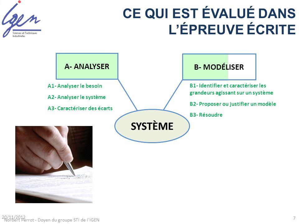 B1- Identifier et caractériser les grandeurs agissant sur un système B2- Proposer ou justifier un modèle B3- Résoudre A1- Analyser le besoin A2- Analy