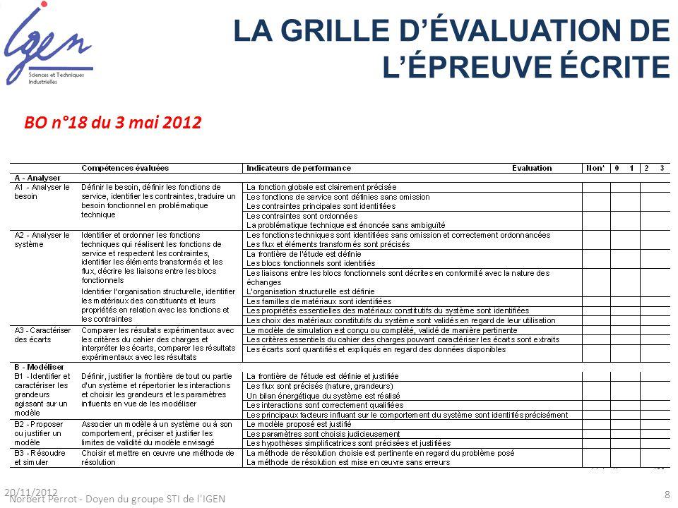 LA GRILLE D'ÉVALUATION DE L'ÉPREUVE ÉCRITE BO n°18 du 3 mai 2012 Norbert Perrot - Doyen du groupe STI de l'IGEN 20/11/2012 8