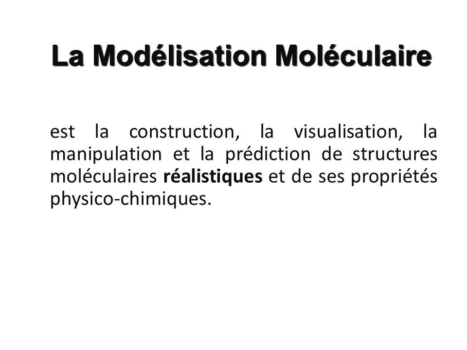 est la construction, la visualisation, la manipulation et la prédiction de structures moléculaires réalistiques et de ses propriétés physico-chimiques
