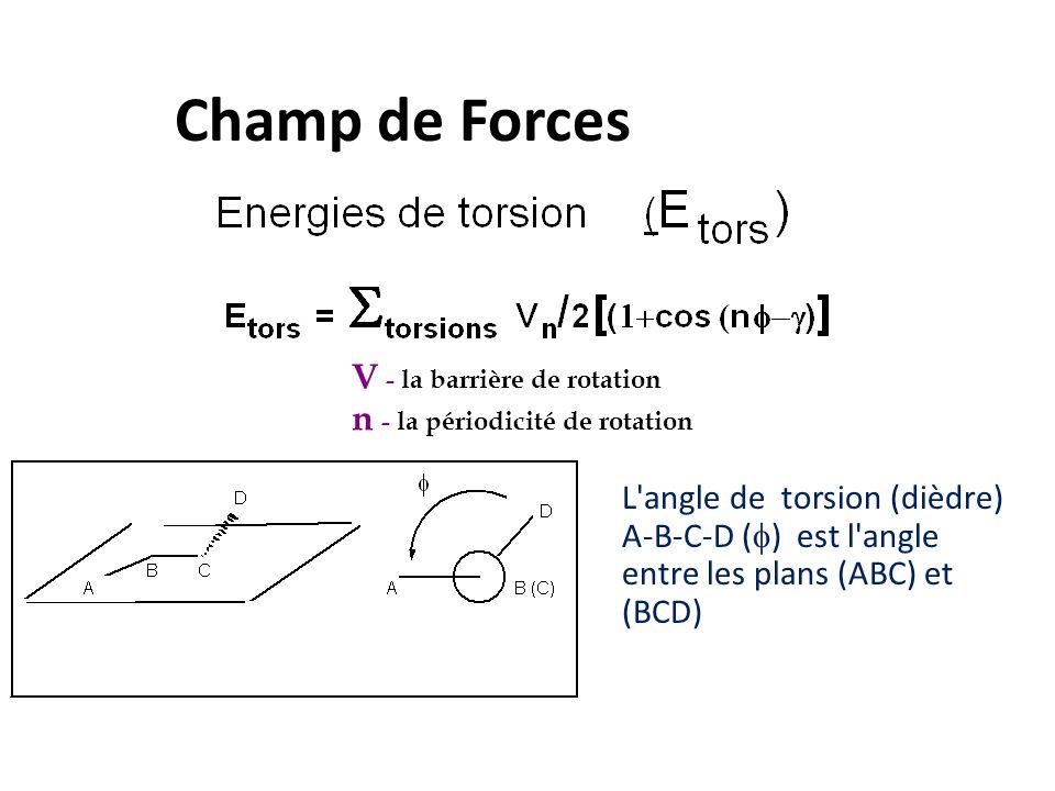 Champ de Forces L'angle de torsion (dièdre) A-B-C-D (  ) est l'angle entre les plans (ABC) et (BCD) V - la barrière de rotation n - la périodicité de