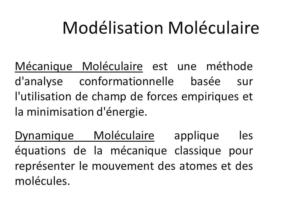 Modélisation Moléculaire Mécanique Moléculaire est une méthode d'analyse conformationnelle basée sur l'utilisation de champ de forces empiriques et la