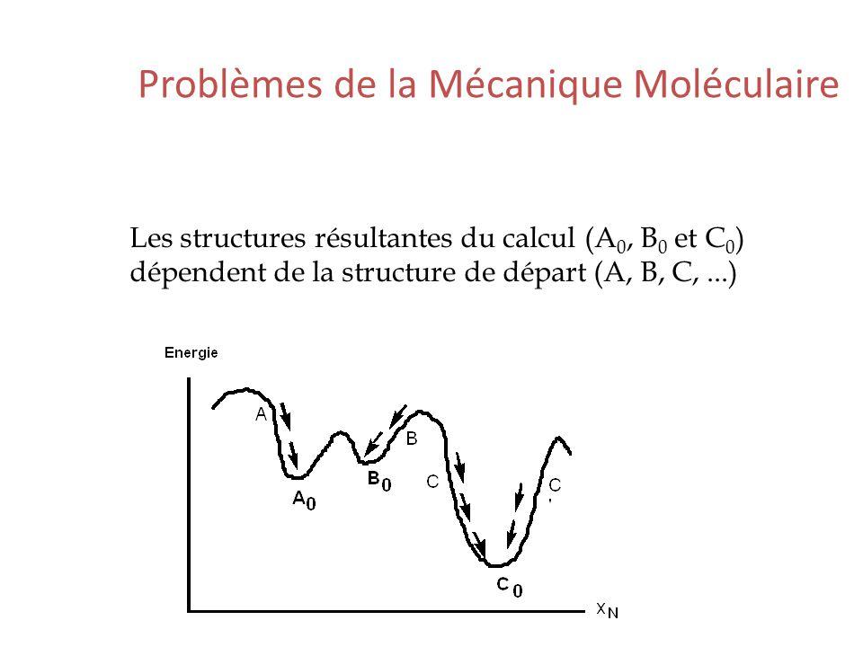 Problèmes de la Mécanique Moléculaire Les structures résultantes du calcul (A 0, B 0 et C 0 ) dépendent de la structure de départ (A, B, C,...)
