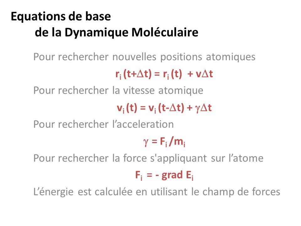 Equations de base de la Dynamique Moléculaire Pour rechercher nouvelles positions atomiques r i (t+  t) = r i (t) + v  t Pour rechercher la vitesse