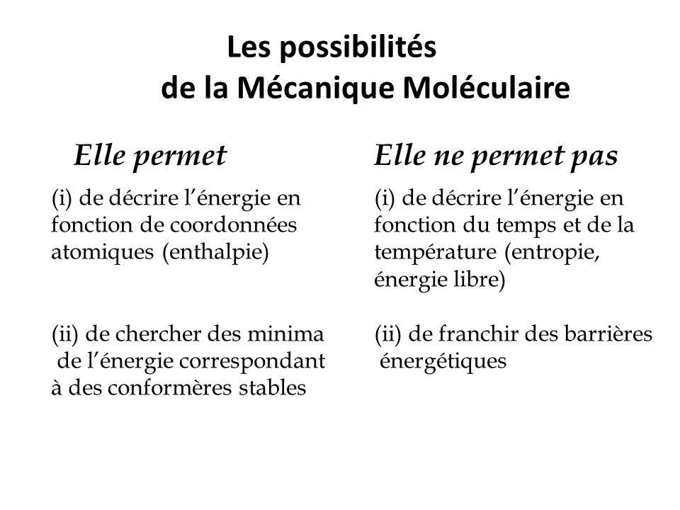 Les possibilités de la Mécanique Moléculaire Elle permet (i) de décrire l'énergie en fonction de coordonnées atomiques (enthalpie) (ii) de chercher de