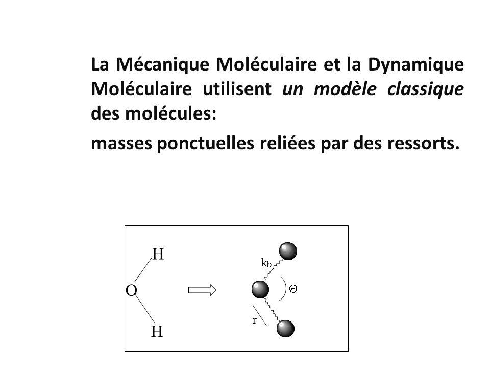 La Mécanique Moléculaire et la Dynamique Moléculaire utilisent un modèle classique des molécules: masses ponctuelles reliées par des ressorts. H H O r