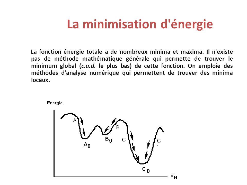 La minimisation d'énergie La fonction énergie totale a de nombreux minima et maxima. Il n'existe pas de méthode mathématique générale qui permette de