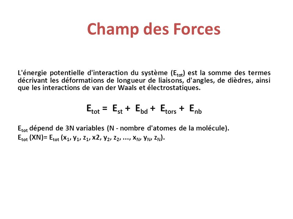 Champ de Forces Courbe typique E vdw en fonction de la distance interatomique Energies d interactions entre atomes non- liés (E nb )