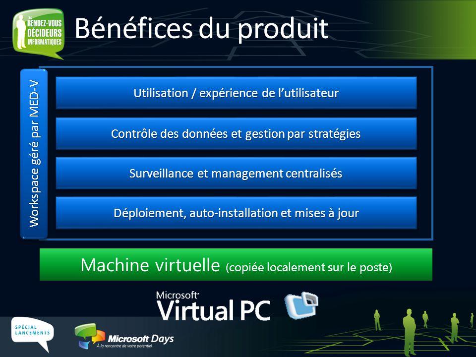 Déploiement, auto-installation et mises à jour Surveillance et management centralisés Contrôle des données et gestion par stratégies Workspace géré pa