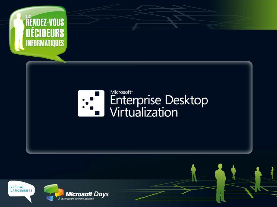Deux options Hébergé sur le serveur Hébergé sur le poste Portables, postes en dehors de l'entreprise Postes connectés Réseau Client Serveur Windows VECD, Terminal Services Microsoft Enterprise Desktop Virtualization Virtualisation du poste de travail