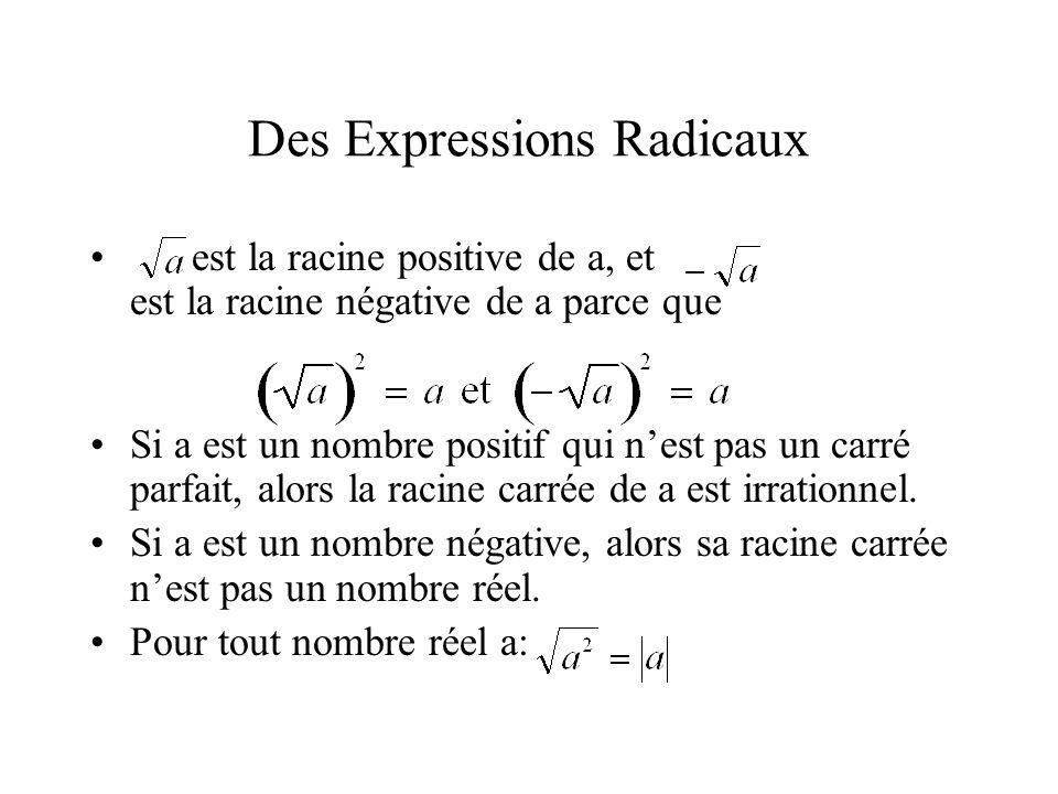 Des Expressions Radicaux • est la racine positive de a, et est la racine négative de a parce que •Si a est un nombre positif qui n'est pas un carré pa