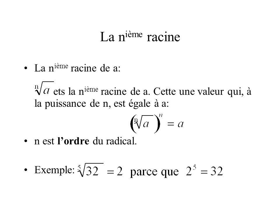 La n ième racine •La n ième racine de a: ets la n ième racine de a. Cette une valeur qui, à la puissance de n, est égale à a: •n est l'ordre du radica