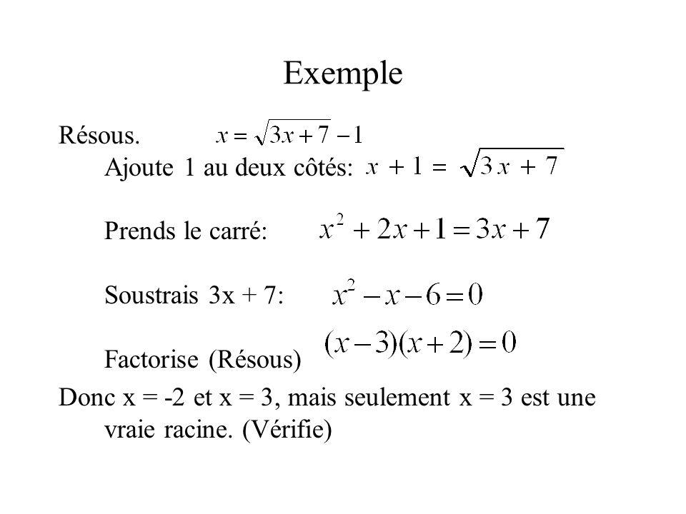 Exemple Résous. Ajoute 1 au deux côtés: Prends le carré: Soustrais 3x + 7: Factorise (Résous) Donc x = -2 et x = 3, mais seulement x = 3 est une vraie