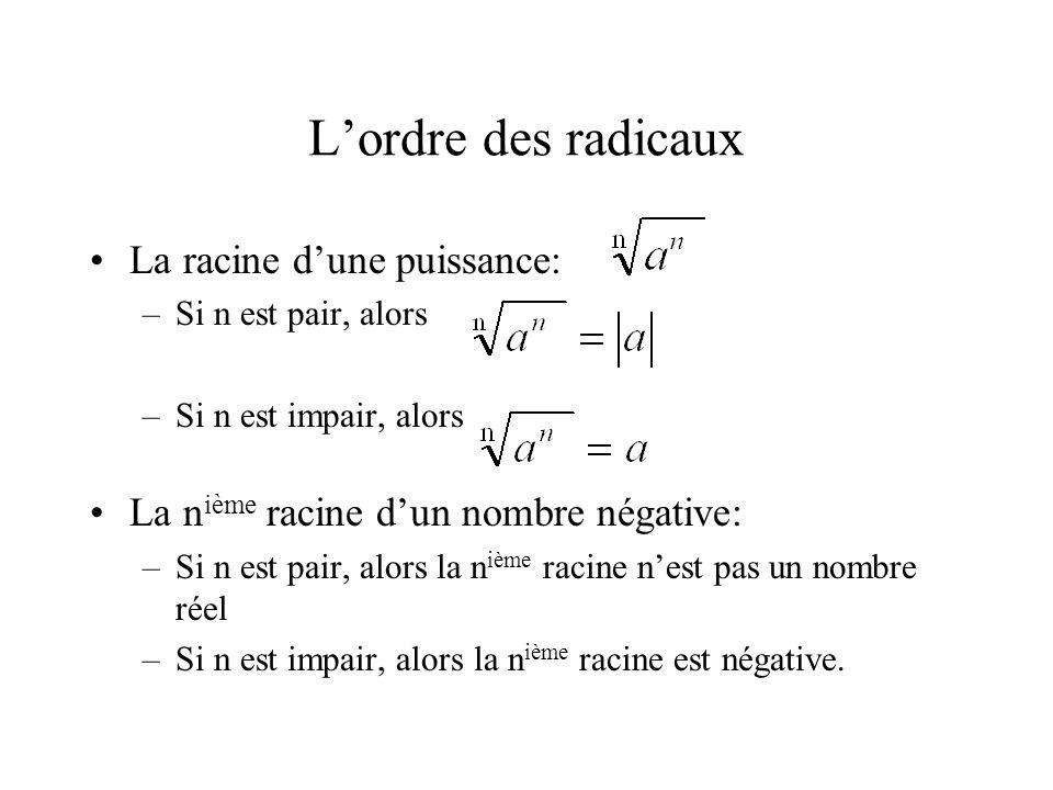 L'ordre des radicaux •La racine d'une puissance: –Si n est pair, alors –Si n est impair, alors •La n ième racine d'un nombre négative: –Si n est pair,