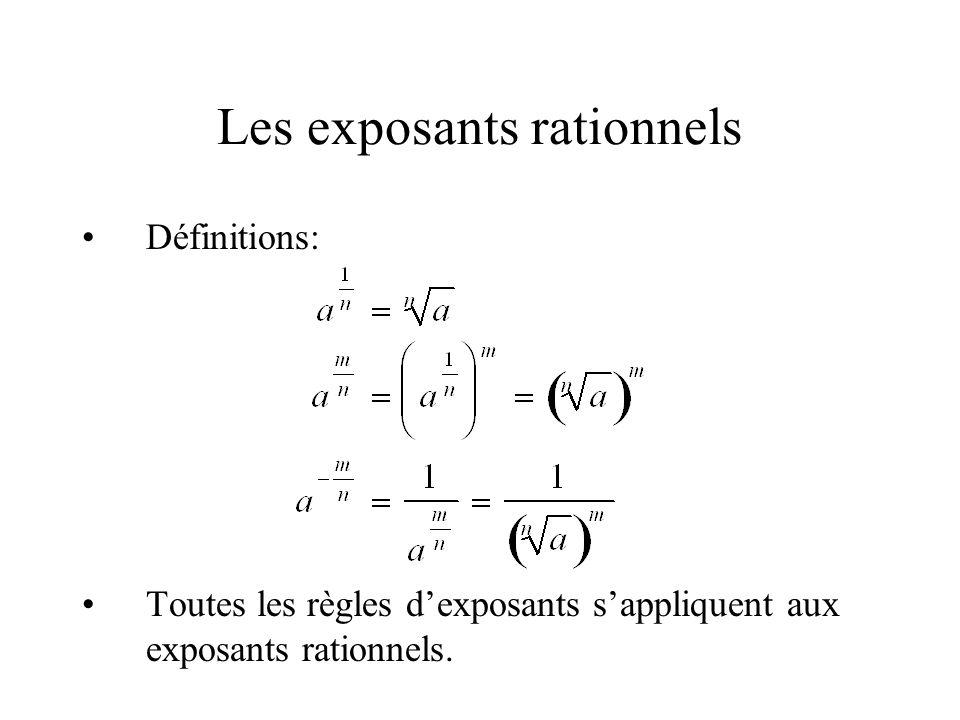 Les exposants rationnels •Définitions: •Toutes les règles d'exposants s'appliquent aux exposants rationnels.