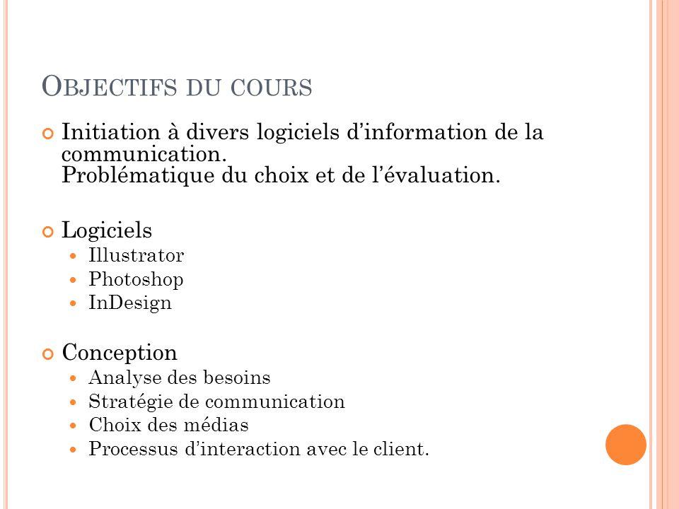 O BJECTIFS DU COURS Initiation à divers logiciels d'information de la communication.