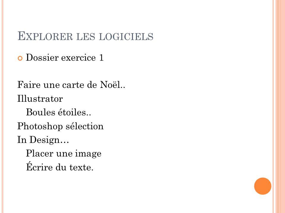 E XPLORER LES LOGICIELS Dossier exercice 1 Faire une carte de Noël..