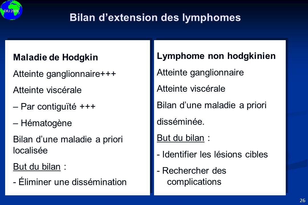 DIU 2009 26 Maladie de Hodgkin Atteinte ganglionnaire+++ Atteinte viscérale – Par contiguïté +++ – Hématogène Bilan d'une maladie a priori localisée B