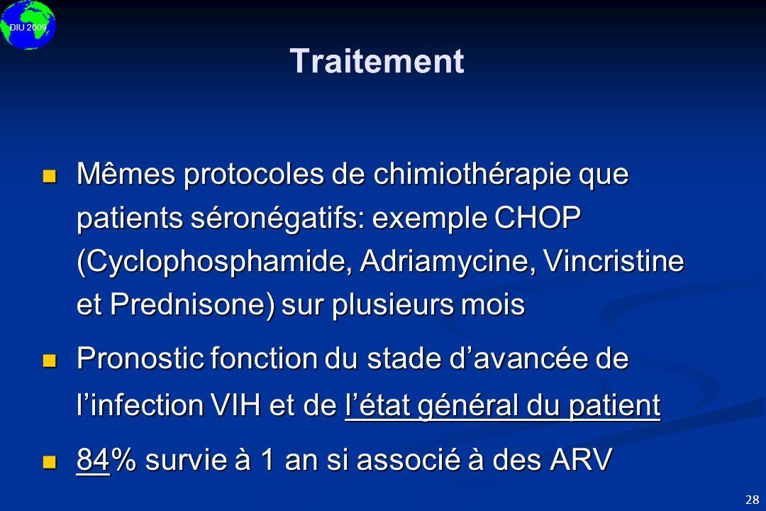 DIU 2009 28  Mêmes protocoles de chimiothérapie que patients séronégatifs: exemple CHOP (Cyclophosphamide, Adriamycine, Vincristine et Prednisone) su