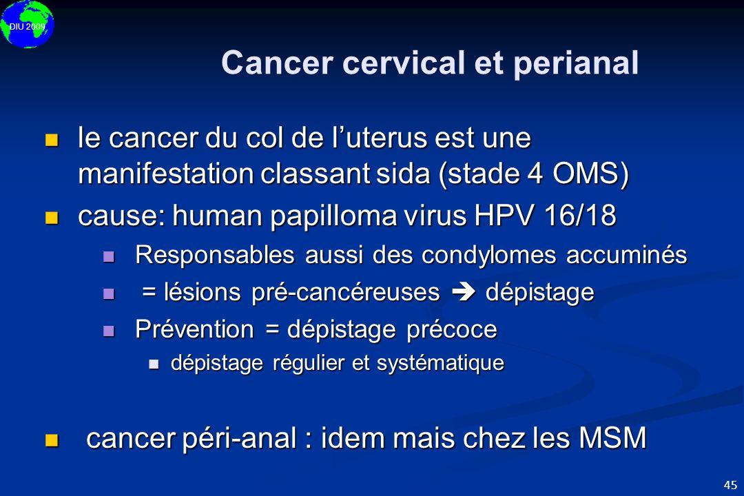 DIU 2009 45 Cancer cervical et perianal  le cancer du col de l'uterus est une manifestation classant sida (stade 4 OMS)  cause: human papilloma viru