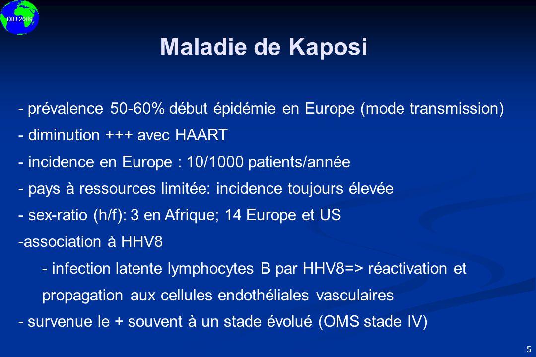 DIU 2009 5 - prévalence 50-60% début épidémie en Europe (mode transmission) - diminution +++ avec HAART - incidence en Europe : 10/1000 patients/année