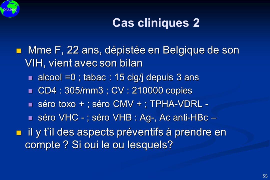 DIU 2009 55 Cas cliniques 2  Mme F, 22 ans, dépistée en Belgique de son VIH, vient avec son bilan  alcool =0 ; tabac : 15 cig/j depuis 3 ans  CD4 :